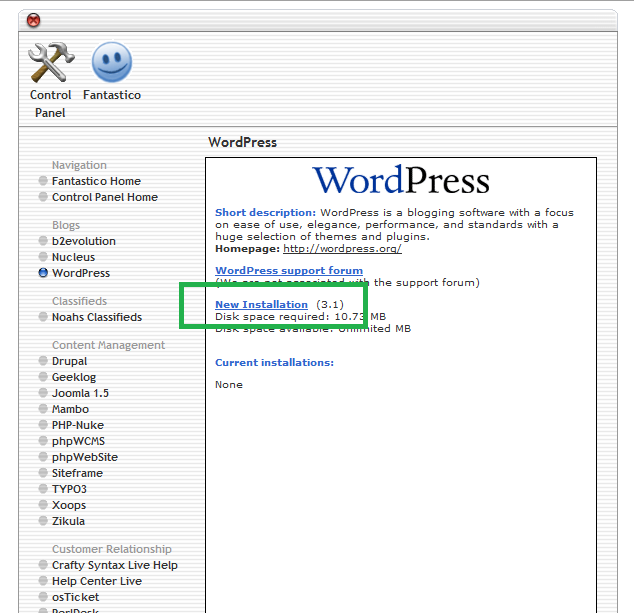 Start Installing WordPress