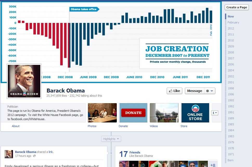 Facebook Fan Page Timeline View - Barack Obama