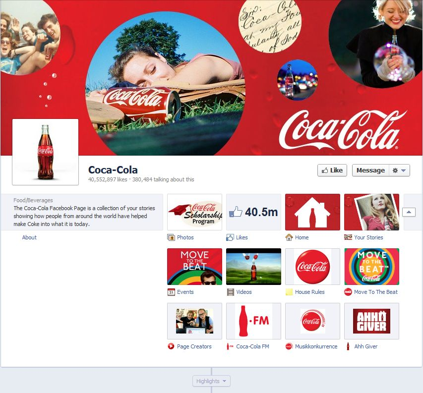 Facebook Fan Page Timeline View - Coca Cola