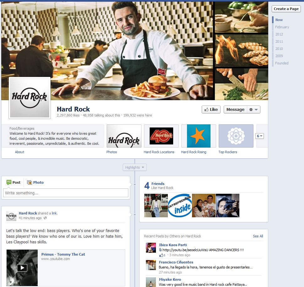 Facebook Fan Page Timeline View - Hard Rock Cafe