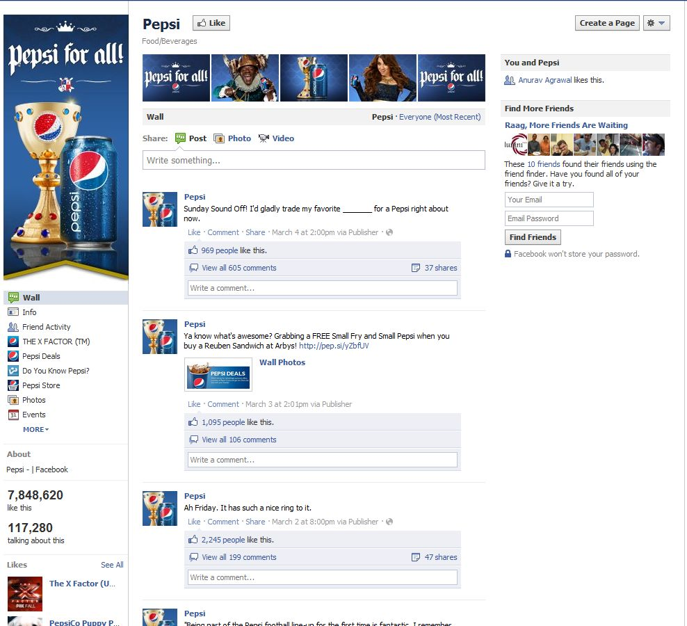 Facebook Fan Page Timeline View - Pepsi