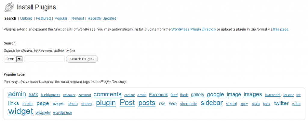 "Installing a WordPress Plugin - ""Install Plugins"" Screen"