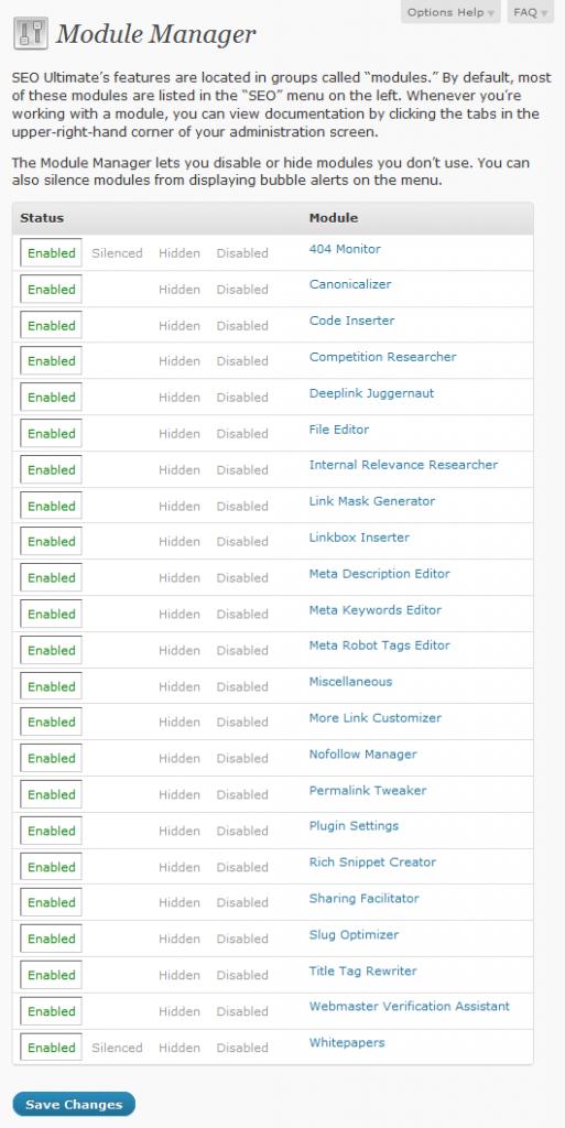 SEO Ultimate WordPress Plugin - List of Modules