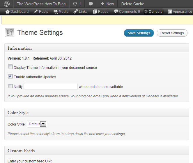 Genesis Theme Settings Page