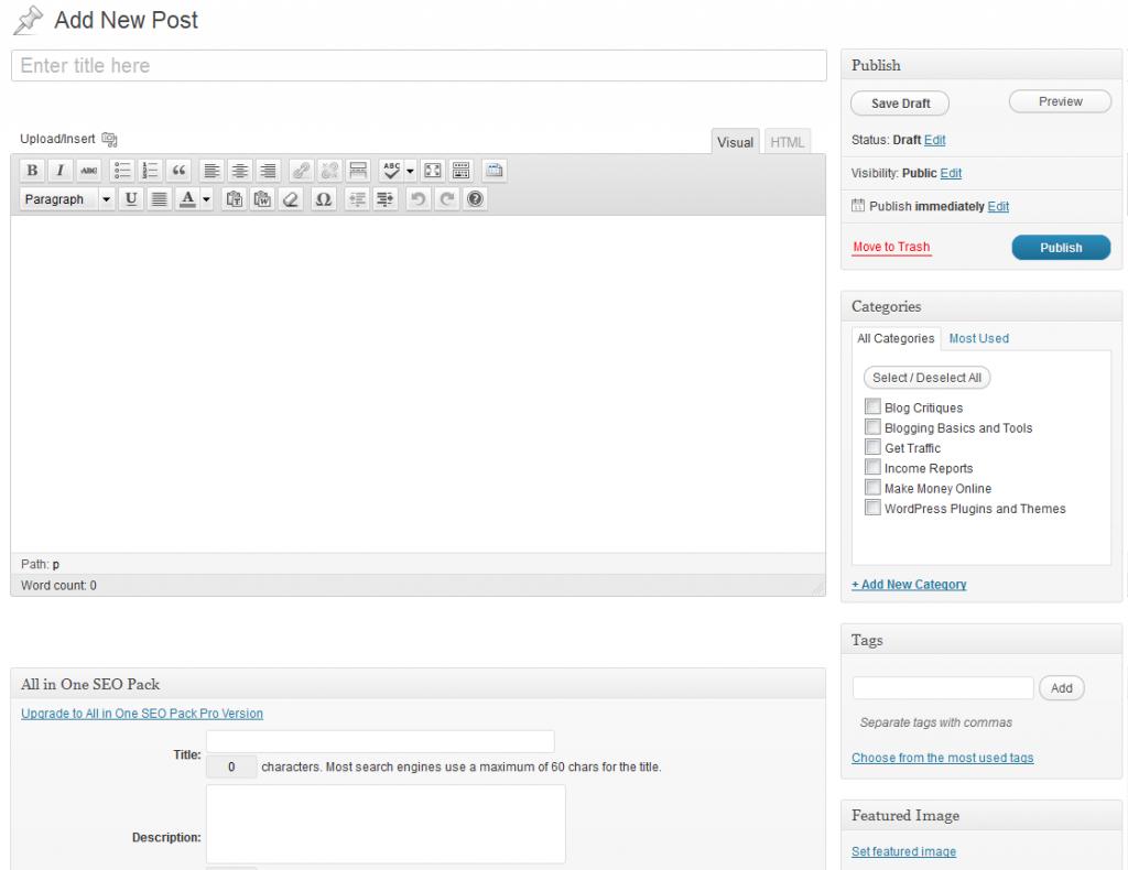 WordPress - Add New Post Screen