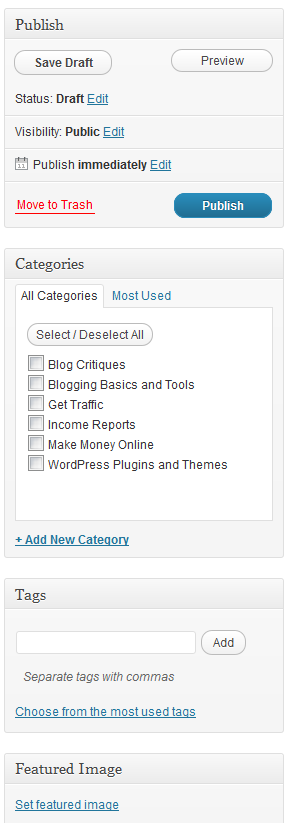 WordPress - Add New Post Screen - Post Category, Tags and more on the Right Side