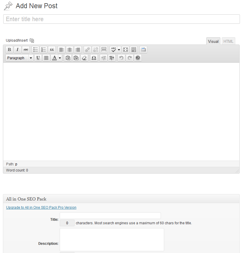 WordPress - Add New Post Screen - Post Content on the Left Side